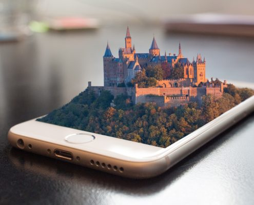 Mocked photo of mobile phone hologram display